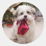 Pegatinas lindos del perro del navidad