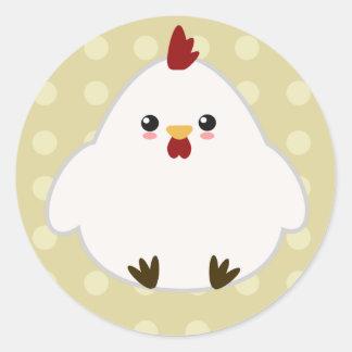 Pegatinas lindos del pollo etiquetas redondas