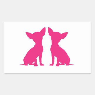 Pegatinas lindos del rectángulo del perro rosado d