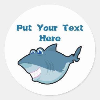 Pegatinas lindos del tiburón pegatina redonda