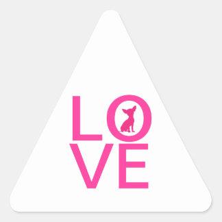 Pegatinas lindos del triángulo del perro del rosa pegatina triangular
