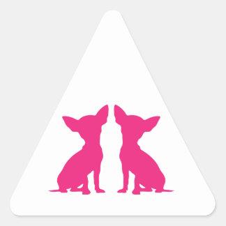 Pegatinas lindos del triángulo del perro rosado de pegatina triangular