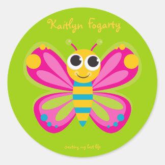 Pegatinas lindos personalizados de la mariposa pegatina redonda