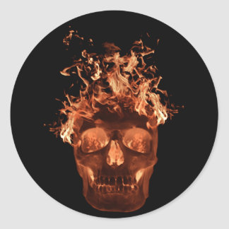 Pegatinas llameantes anaranjados del cráneo pegatina redonda