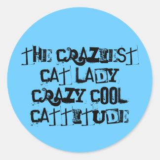 pegatinas locos de la señora etiqueta redonda