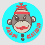Pegatinas locos del feliz cumpleaños del mono del pegatina redonda
