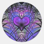 Pegatinas luminescentes del fractal del corazón