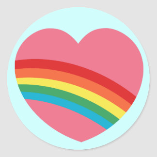 pegatinas macizos del corazón del arco iris 80s pegatina redonda