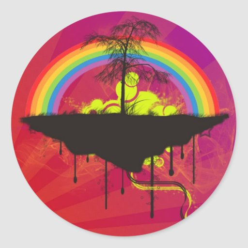 Pegatinas magentas del arco iris del fuego
