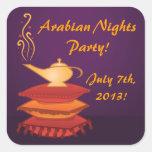 Pegatinas mágicos árabes del fiesta de la lámpara colcomania cuadrada