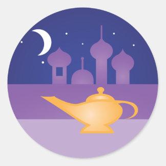 Pegatinas mágicos de la lámpara de la noche árabe pegatina redonda
