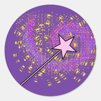 Pegatinas mágicos de la vara pegatina redonda