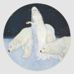 Pegatinas mágicos del invierno del oso polar - pegatina redonda