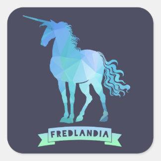 Pegatinas mágicos del unicornio de Fredlandia Pegatina Cuadrada
