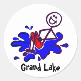 Pegatinas magníficos del obús del lago pegatina redonda
