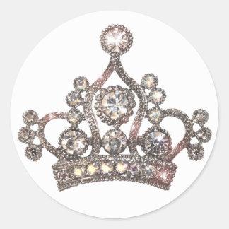 Pegatinas majestuosos de la tiara etiquetas redondas