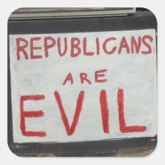Pegatinas malvados de los republicanos pegatina cuadradas personalizada