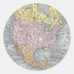 Pegatinas:  Mapa de Norteamérica, 1921 Pegatinas Redondas