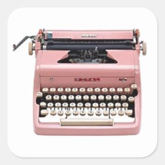 Pegatinas - máquina de escribir rosada del vintage pegatina cuadrada