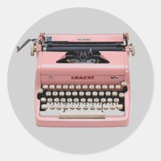 Pegatinas - máquina de escribir rosada del vintage pegatina redonda
