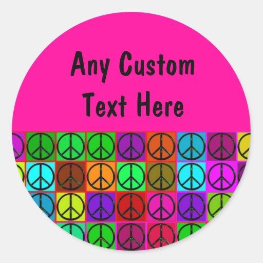 Pegatinas maravillosos de los signos de la paz pegatina redonda