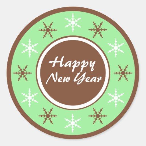 Pegatinas marrones y verdes de la Feliz Año Nuevo Pegatina Redonda