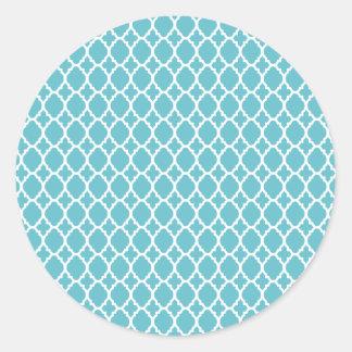 Pegatinas marroquíes azules de la teja pegatina redonda