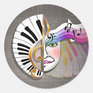 Pegatinas - máscara de la música etiqueta redonda