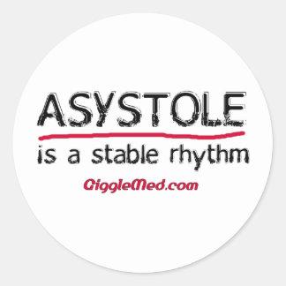 Pegatinas médicos del humor de la asistolia pegatina redonda