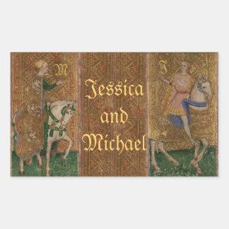 Pegatinas medievales del boda del renacimiento del rectangular pegatinas