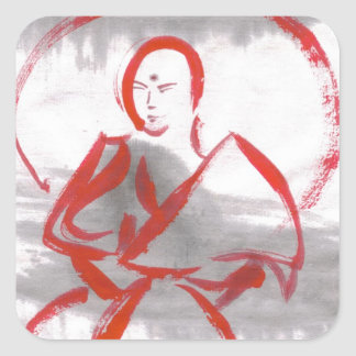 Pegatinas Meditating de los artes marciales del Pegatina Cuadrada