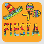Pegatinas mexicanos de Maraca del sombrero del Pegatina Cuadrada