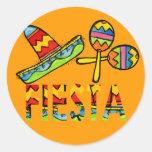 Pegatinas mexicanos de Maraca del sombrero del Pegatina Redonda