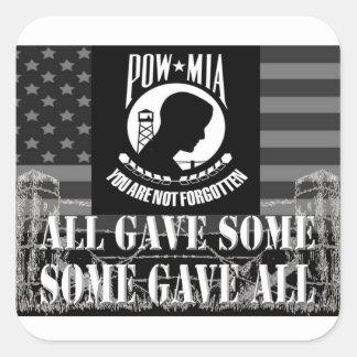 """Pegatinas militares de """"POW-MIA"""" Pegatina Cuadrada"""