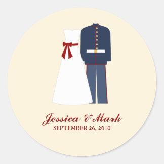 Pegatinas militares del boda pegatinas redondas