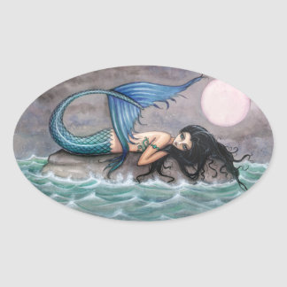 Pegatinas minúsculos de la sirena de la isla calcomania de oval