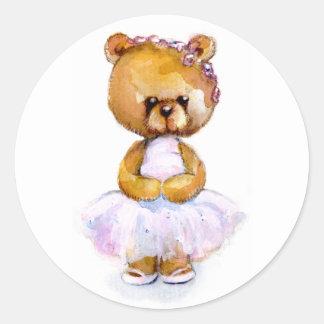 Pegatinas minúsculos del oso de la bailarina etiquetas redondas
