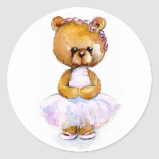 Pegatinas minúsculos del oso de la bailarina pegatina redonda