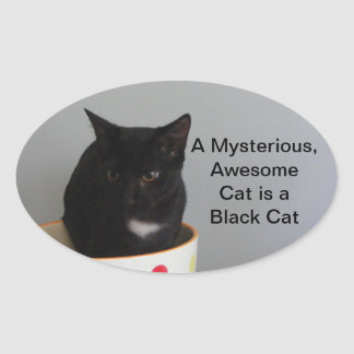Pegatinas misteriosos del gato negro pegatina ovalada