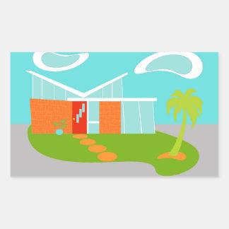 Pegatinas modernos de la casa del dibujo animado pegatina rectangular