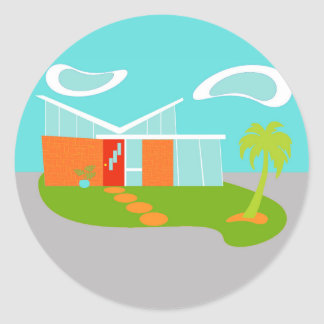 Pegatinas modernos de la casa del dibujo animado pegatina redonda