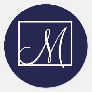 Pegatinas modernos del monograma M Etiquetas Redondas