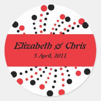 Pegatinas modernos del punto rojo y negro para pegatina redonda