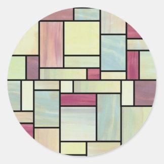 Pegatinas multicolores del vitral de la acuarela pegatinas redondas