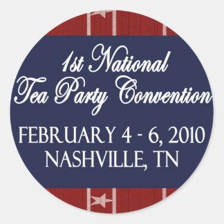 Pegatinas nacionales del convenio de fiesta del té pegatina redonda