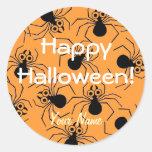 Pegatinas naranja y negro de Halloween de la araña