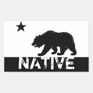 Pegatinas nativos blancos negros del oso del pegatina rectangular