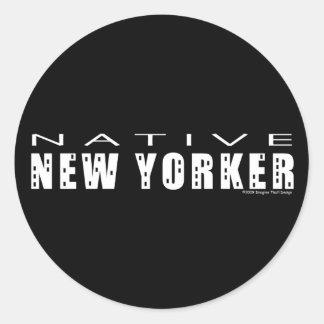 Pegatinas nativos del neoyorquino pegatina redonda