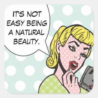 Pegatinas naturales del cómic de la belleza pegatina cuadrada