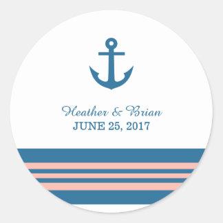 Pegatinas náuticos coralinos azules del boda del etiqueta redonda